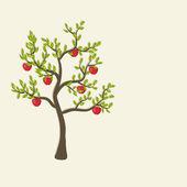 アップル ツリーの背景色 — ストックベクタ