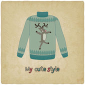 Cute sweater old background — Vector de stock