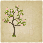 Pink flowers blossom tree — Vecteur