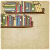 Hand rita bokhylla gammal bakgrund — Stockvektor