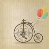 Bike with balloons retro striped background — Stock Vector