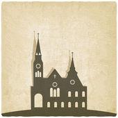 Catholic church old background — Stock Vector