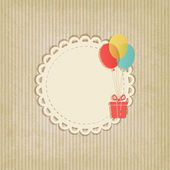 Gift on colored balloons retro striped background — Stock Vector