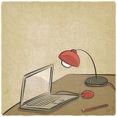 Fondo antiguo de trabajo portátil lámpara — Vector de stock