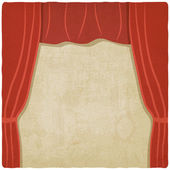 Red curtain old background — Vector de stock