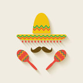 Mexican sombrero and  maracas — Stock Vector