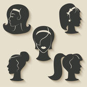 Women hairstyle icons — Stock Vector