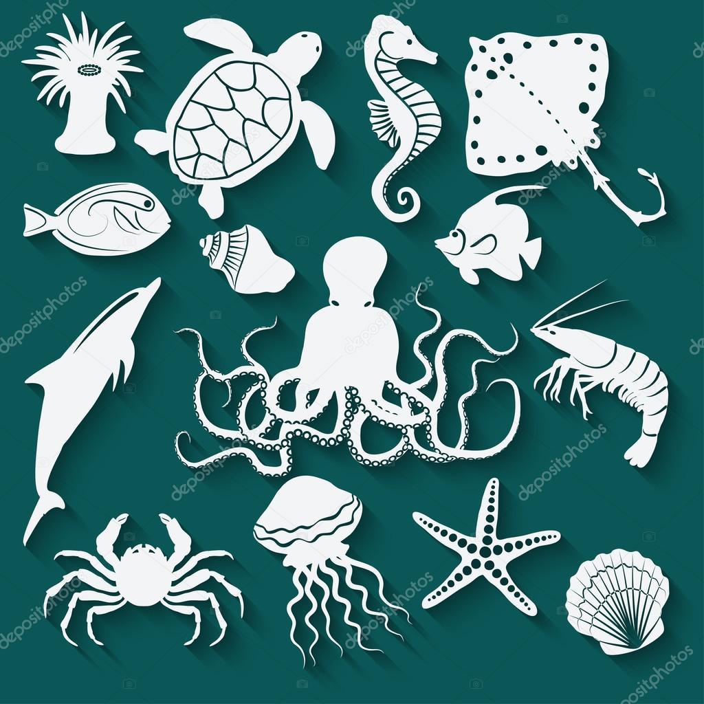 морских животных и рыб