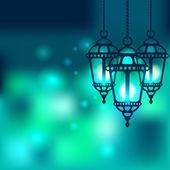 Ramadan latarnia błyszczącym tle — Wektor stockowy