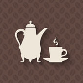 Coffee pot and cup on seamless background — Stock Vector