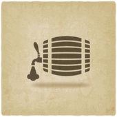 Beer barrel old background — Stock Vector
