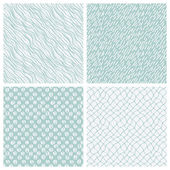 Simple hand-drawn seamless patterns set — Stock Vector