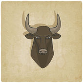 Bull head old background — Wektor stockowy