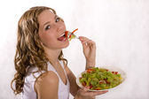 Girl with salad — Stock Photo