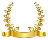 Gold laurel wreath — Vector de stock