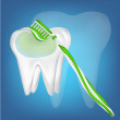 Tooth,  toothbrush. mesh illustration - Stockvectorbeeld
