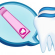 Royalty-Free Stock Vector Image: Tooth,  toothpaste. mesh illustration