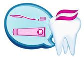 牙、 牙刷、 牙膏。网图 — 图库矢量图片