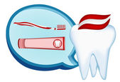 Tooth, toothbrush, toothpaste. mesh illustration — Stockvector