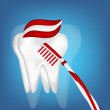 Royalty-Free Stock Vector Image: Tooth,  toothbrush. mesh illustration