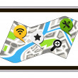 Stock Vector: Isolated GPS navigator with map of city. Vector Illustration of white tablet