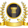 Old-style greece column and gold laurel wreathgold laurel wreath. eps10 vector illustration — Векторная иллюстрация