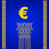 Old-style greece column with popular currency Euro. eps10 vector illustration — Stock Vector