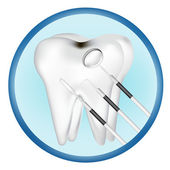 Tooth and dental tools design elements. eps10 vector illustration — Vettoriale Stock