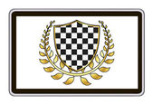 Realistic tablet pc computer with checkered shield and gold laurel wreath. eps10 vector illustration — Vettoriale Stock