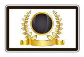 Computador de pc tablet realista com coroa de louros do ouro e da faixa de opções. ilustração em vetor eps10 malha — Vetor de Stock