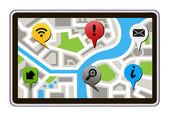Navegador gps aislado con el mapa de la ciudad. ilustración vectorial de tableta blanca — Vector de stock