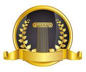 Estilo antigo grécia coluna e ouro wreathgold laurel coroa de louros. ilustração em vetor eps10 — Vetor de Stock