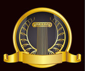 Gammaldags grekland kolumn och guld wreathgold laurel lagerkrans. eps10 vektor illustration — Stockvektor