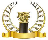 Old-style greece column and gold laurel wreathgold laurel wreath. eps10 vector illustration — Stock Vector