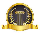 Old-style greece column and gold laurel wreathgold laurel wreath. eps10 vector illustration — Vetor de Stock