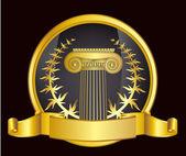 Starobylé Řecko sloupec a gold laurel wreathgold vavřínový věnec. eps10 vektorové ilustrace — Stock vektor