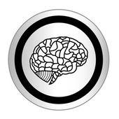 Brain model on sticker icon web button. EPS10 illustration — Stockvector