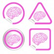 Brain model on sticker icon web button. EPS10 illustration — Stock Vector