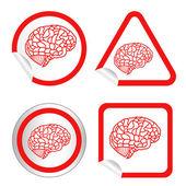 Modello di cervello su adesivo icona web pulsante. Eps10 illustrazione — Vettoriale Stock