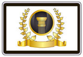 Realista vector tablet pc pc con elementos guirnalda, cinta y pilar laurel de oro — Vector de stock