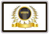 Realistische vector tablet pc pc met gouden laurel krans, lint en pijler elementen — Stockvector