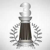 Colonna di grecia, corona di alloro e numero. illustrazione vettoriale eps10 — Vettoriale Stock