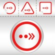 Simple icon set of arrows on sticker button different forms in modern style. eps10 vector illustration — Векторная иллюстрация