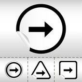 Prosty ikonę zestaw strzałki na naklejki przycisk różne formy w nowoczesnym stylu. ilustracja wektorowa eps10 — Wektor stockowy