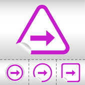 Icône simple jeu de flèches sur l'autocollant bouton différentes formes dans un style moderne. illustration vectorielle Eps10 — Vecteur
