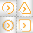 Simple icon set of arrows on sticker button different forms in modern style. eps10 vector illustration — Vettoriali Stock