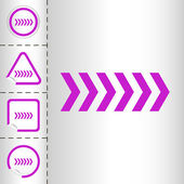 Basit simge okları çıkartma düğmesi modern tarzı farklı şekillerde ayarlayın. eps10 vektör çizim — Stok Vektör