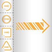 Conjunto de ícones simples de flechas em formulários diferentes do botão adesivo em estilo moderno. ilustração em vetor eps10 — Vetor de Stock