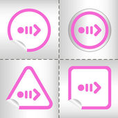 Simple icon set of arrows on sticker button different forms in modern style. eps10 vector illustration — Stockvektor