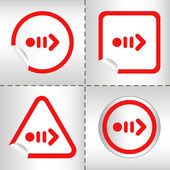 Simple icon set of arrows on sticker button different forms in modern style. eps10 vector illustration — Stock Vector